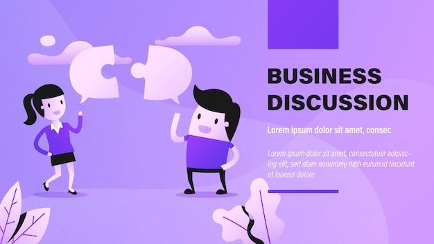 Baner dyskusji biznesowych