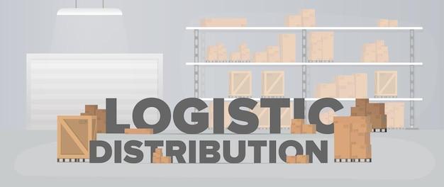 Baner dystrybucji logistycznej. duży magazyn z pudłami i paletami.