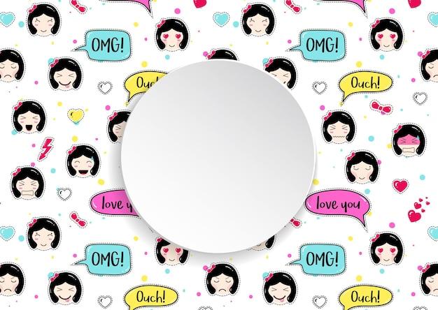 Baner Dziewczyny Z Wzorem Emoji Anime Premium Wektorów