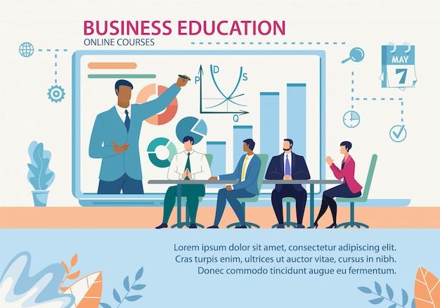 Baner edukacji biznesowej kursy online płaski szablon