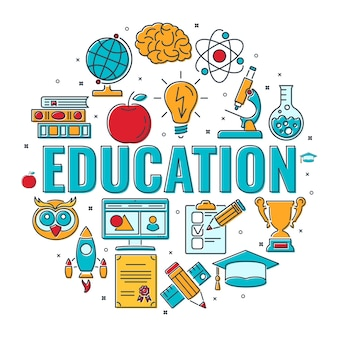 Baner edukacji na odległość online z typografią i kolorową linią