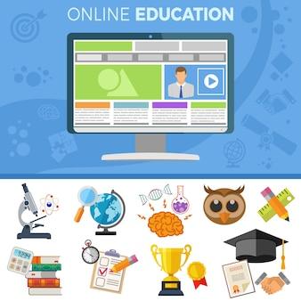 Baner Edukacji Online. Premium Wektorów