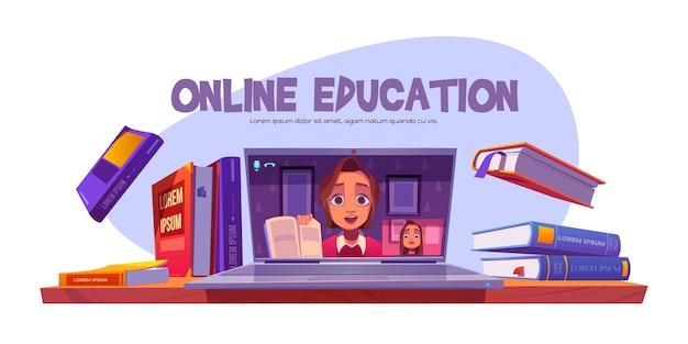 Baner edukacyjny online z nauczycielem prowadzącym zdalnie seminarium internetowe dla uczniów