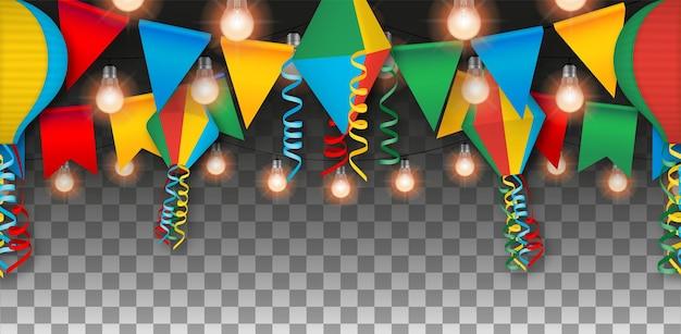 Baner festa junina z proporczykami, balonami i żarówkami