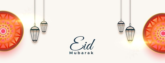 Baner festiwalu eid mubarak z wiszącymi latarniami