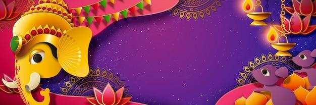 Baner festiwalu ganeśćaturthi ze złotym kolorem głowa hinduskiego boga ganesha, fioletowy