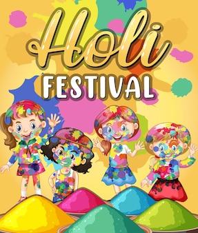 Baner festiwalu holi z postaciami dla dzieci