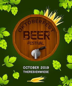 Baner festiwalu piwa oktoberfest na ciemnozielony