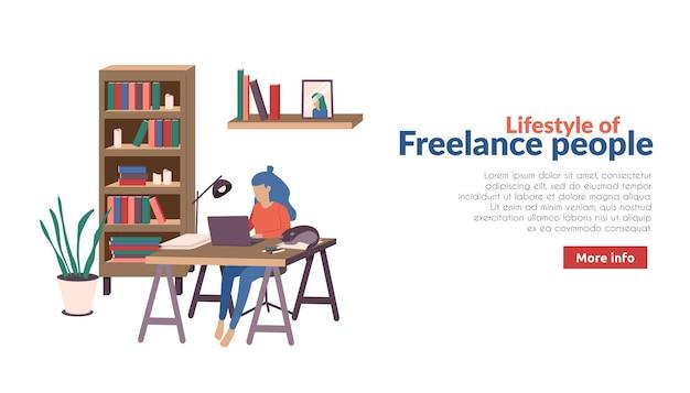 Baner freelancerów i pracowników zdalnych z dodatkowym tekstem przycisku informacji i procesem pracy w domu