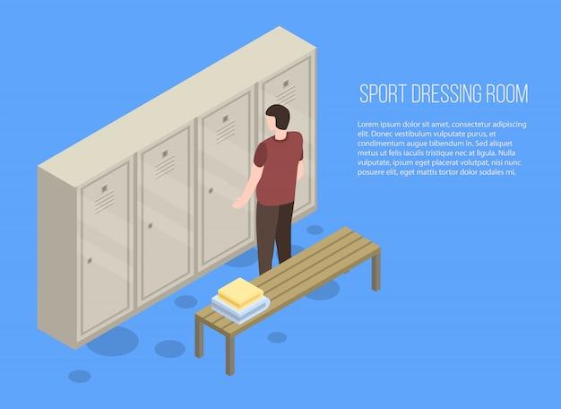 Baner garderoba sport, styl izometryczny