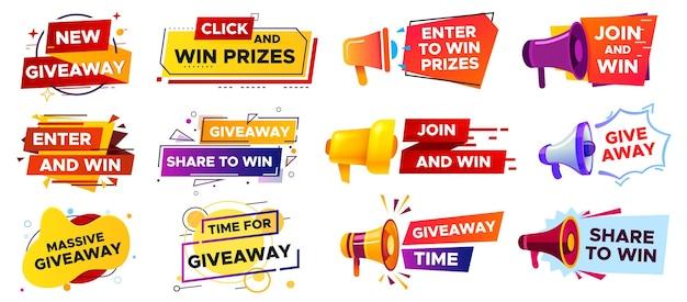 Baner gratisów z megafonem. ogłoszenie konkursu na głośnik. zdobywanie nagród w konkursach, wręczanie prezentów. udostępnij, aby wygrać post w mediach społecznościowych. ilustracja wektorowa marketingu i reklamy