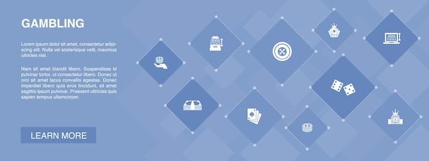 Baner hazardowy 10 ikon koncepcji. ruletka, kasyno, pieniądze, proste ikony kasyna online