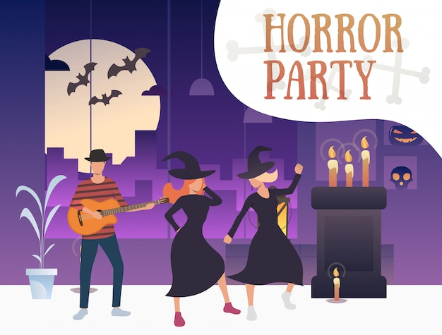 Baner horroru z tańczącymi czarownicami i gitarzystą