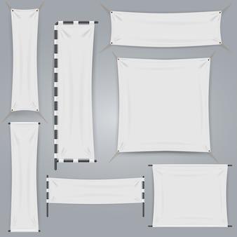 Baner i flaga z białej tkaniny. realistyczne płótno tekstylne wstążki wektorowej. pusty baner poziomy i pionowy