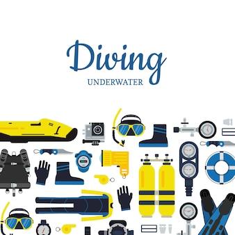 Baner i plakat podwodny sprzęt do nurkowania w stylu płaskiej