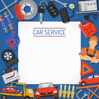 Baner i rama serwisu samochodowego. naprawa samochodów, serwis opon z płaskimi ikony na plakat, stronę internetową, reklamę jak laptop, laweta, bateria, podnośnik, mechanik. ilustracja wektorowa