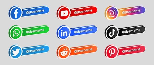Baner ikon mediów społecznościowych w ramce 3d kolekcja przycisków logo sieci