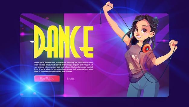 Baner imprezy tanecznej z dziewczyną dj ze słuchawkami wektorowa strona docelowa dyskoteki lub programu muzycznego z...