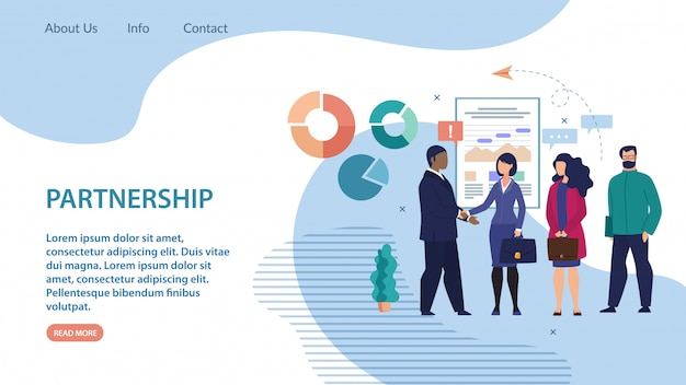 Baner informacyjny partnerstwo napis flat.