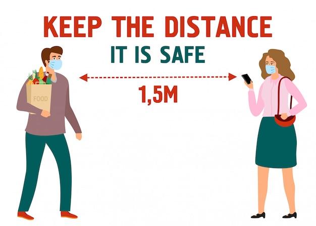 Baner informacyjny utrzymuje odległość. zapobieganie wirusom i ochrona.