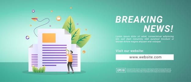 Baner informacyjny z najświeższymi wiadomościami, powiadamia ludzi o najnowszych wiadomościach. banery reklamowe