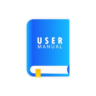 Baner instrukcji użytkownika. wymagania dotyczące specyfikacji dokumentu, koncepcja instrukcji użytkowania. wskazówki dotyczące wiedzy eksperckiej, instrukcje online, instrukcja obsługi oprogramowania menedżera. jak używać. wektor eps 10.