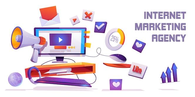 Baner internetowej agencji marketingowej. cyfrowy biznes