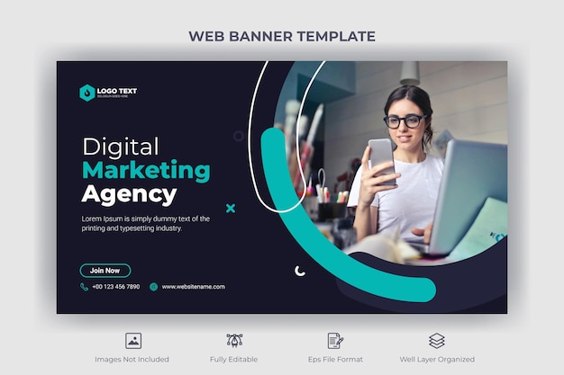 Baner internetowy agencji marketingu cyfrowego i szablon miniatury youtube