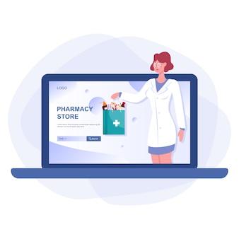Baner internetowy apteki internetowej na ekranie urządzenia internetowego. medycyna i opieka zdrowotna. baner internetowy z drogerią lub pomysł na interfejs strony internetowej. ilustracja na białym tle wektor