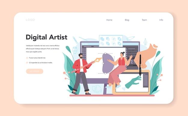 Baner internetowy artysty lub strona docelowa. profesjonalny ilustrator