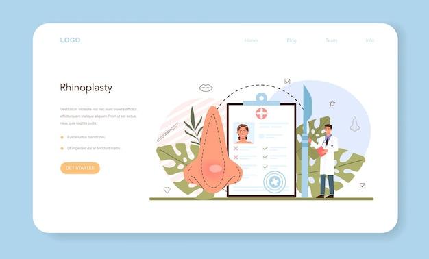 Baner internetowy chirurgii plastycznej lub pomysł na stronę docelową o nowoczesnej twarzy