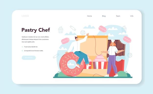 Baner internetowy cukiernika lub strona docelowa profesjonalny cukiernik