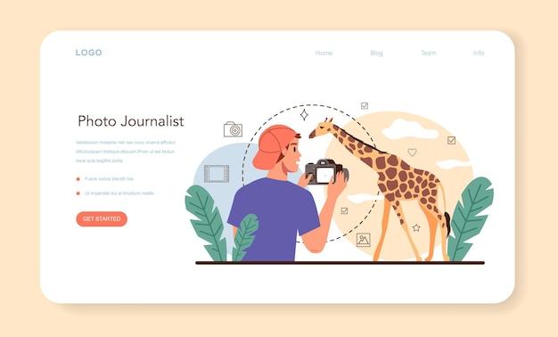 Baner internetowy dla dziennikarza fotograficznego lub profesjonalny fotograf na stronie docelowej