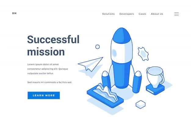 Baner internetowy dla nowoczesnej udanej misji kosmicznej