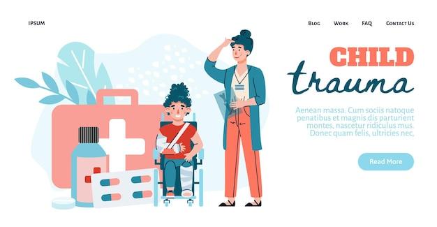 Baner internetowy dla traumatologii dzieci z nagłówkiem płaskiej ilustracji wektorowych