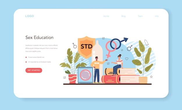 Baner internetowy dotyczący edukacji seksualnej lub lekcja zdrowia seksualnego na stronie docelowej
