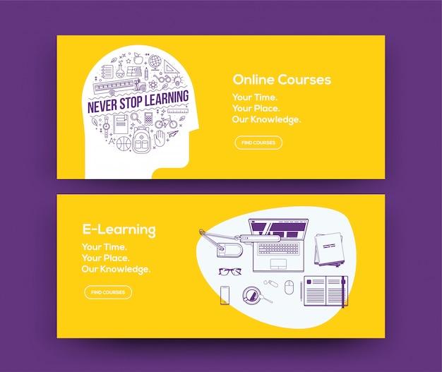 Baner internetowy e-learningowy ustawiony na stronę internetową kursów lub stronę sieci społecznościowej. .