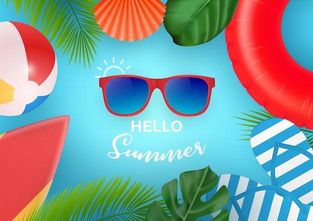 Baner internetowy hello summer. widok z góry na kompozycję letnią z realistycznymi przedmiotami i tropikalnymi owocami na drewnianej teksturze. ilustracja. pojęcie rekreacji sezonowej w krajach tropikalnych.