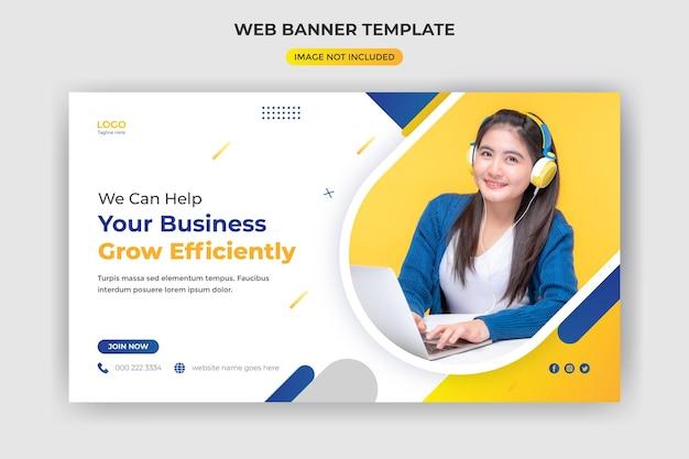 Baner internetowy i okładka strony internetowej kreatywny biznes agencja marketingu cyfrowego szablon postu w mediach społecznościowych