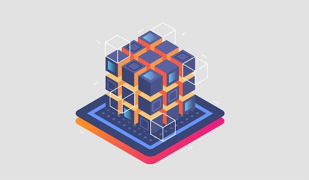 Baner internetowy izometryczny technologii cyfrowej