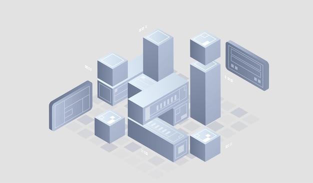 Baner Internetowy Izometryczny Technologii Cyfrowej Premium Wektorów