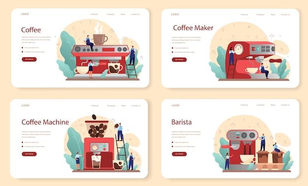 Baner internetowy kawy lub zestaw strony docelowej
