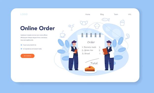 Baner internetowy kelnera lub zestaw strony docelowej