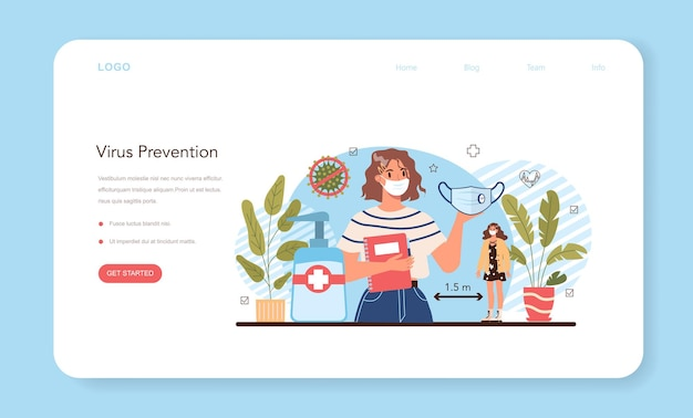 Baner internetowy klasy zdrowego stylu życia lub strona docelowa. idea bezpieczeństwa życia