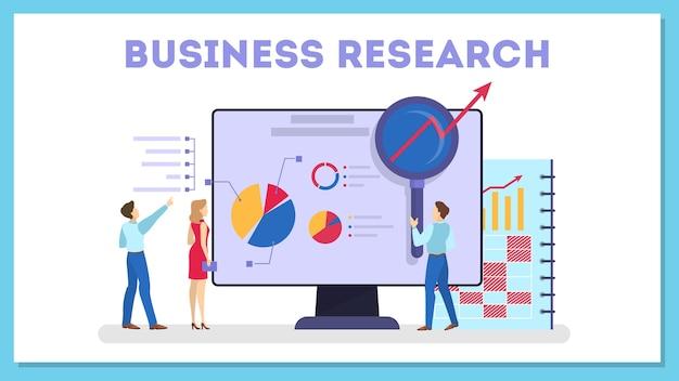 Baner internetowy koncepcja badań biznesowych. pozycja drużyny