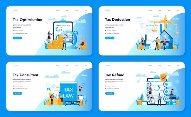 Baner internetowy koncepcja konsultanta podatkowego lub zestaw strony docelowej. idea księgowości i płatności. rachunek finansowy. optymalizacja podatkowa, odliczenia i zwroty.