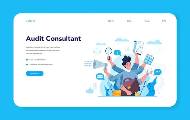 Baner internetowy konsultanta ds. audytu lub strona docelowa