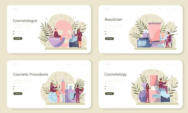 Baner internetowy kosmetologa lub zestaw strony docelowej, pielęgnacja skóry