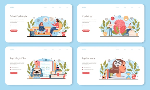 Baner internetowy kurs psychologii lub zestaw strony docelowej. szkolny psycholog