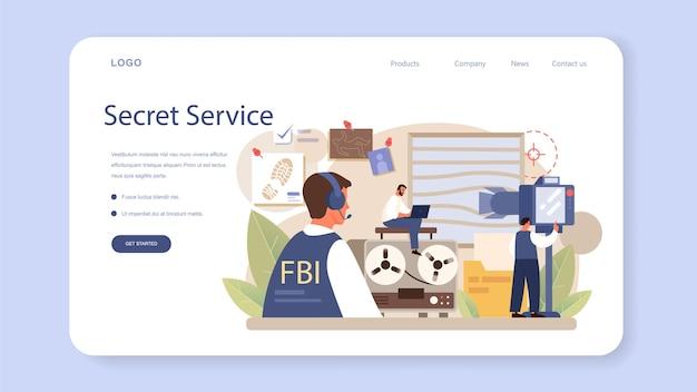 Baner internetowy lub strona docelowa agenta fbi. policjant lub inspektor prowadzący dochodzenie w sprawie przestępstwa. ochrona szpiegostwa, cyberataku i terrorysty. ilustracja na białym tle płaski wektor